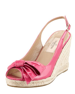 Valentino Patent Leather Bow Espadrille Wedge, Fuchsia