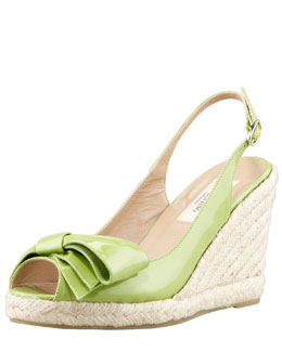 Valentino Patent Leather Bow Espadrille Wedge, Apple