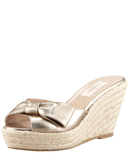 Valentino Metallic Leather Bow Espadrille Slide, Gold