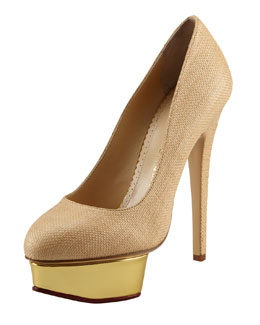 Charlotte Olympia Dolly Raffia Pump, Natural