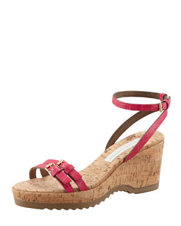 Stella McCartney Faux-Crocodile Cork Ankle-Wrap Wedge, Pink