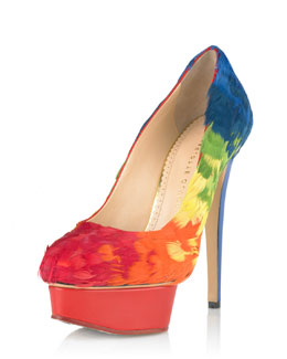 Charlotte Olympia Dolly Rainbow-Feathered Pump