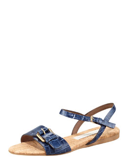 Stella McCartney Faux-Crocodile Cork Flat Sandal, Cobalt