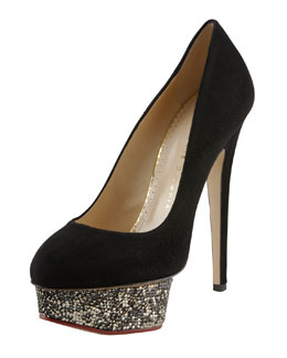 Charlotte Olympia Dolly Crystal-Encrusted Platform Pump