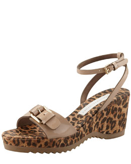 Stella McCartney Animal-Print Cork Ankle-Wrap Wedge, Dessert