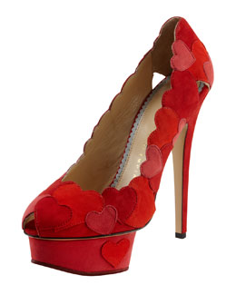 Charlotte Olympia Love Me Heart-Applique Pump, Red