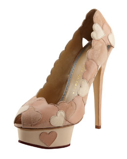 Charlotte Olympia Love Me Heart-Applique Pump, Blush