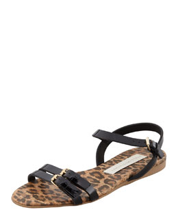 Stella McCartney Animal-Print Cork Ankle-Wrap Wedge