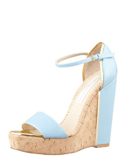 Stella McCartney d'Orsay Patent Cork Wedge, Sky