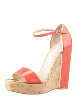 Stella McCartney d'Orsay Patent Cork Wedge, Coral