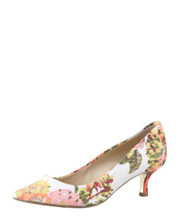 Stella McCartney Floral Jacquard Kitten-Heel Pump
