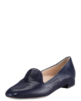 Giorgio Armani Lizard-Embossed Belgian Loafer, Blue