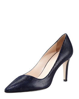 Giorgio Armani Lizard-Embossed Leather Pump, Blue