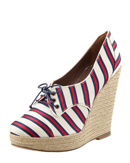 Tabitha Simmons Tie Striped Oxford Wedge, Red/Navy