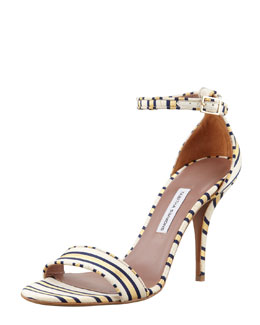 Tabitha Simmons Poppy Necktie-Striped Sandal, Gold/Navy