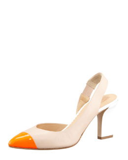 Reed Krakoff Colorblock Cap-Toe Slingback Pump
