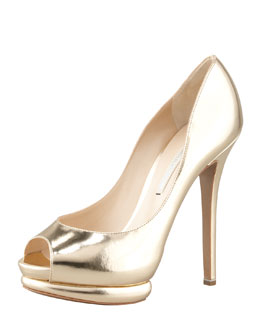 Nicholas Kirkwood Metallic Leather Peep-Toe Double-Platform Pump, Gold