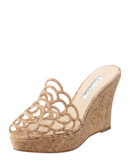 Oscar de la Renta Virma Cork Wedge Slide