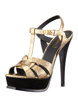 Saint Laurent Tribute Metallic Leather Suede-Heel Sandal, Gold
