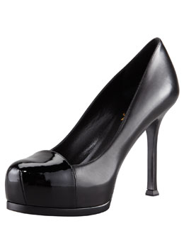Saint Laurent Tribute Two Patent-Capped Leather Platform Pump, Black