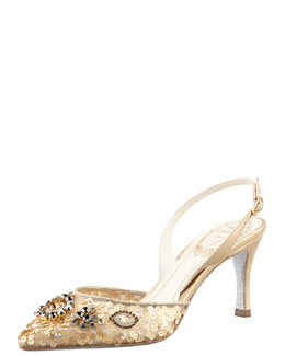 Rene Caovilla Sequined Beaded Halter Pump