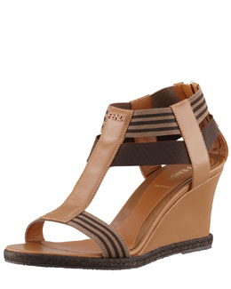 Fendi T-Strap Wedge Sandal, Tobacco