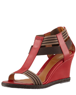 Fendi T-Strap Wedge Sandal, Red