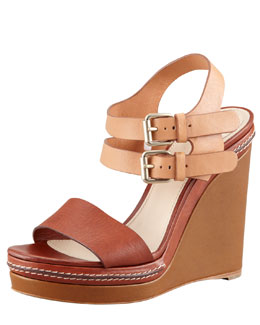 Chloe Double Ankle-Wrap Wedge Sandal