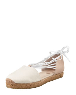Chloe Canvas Leather Flat Espadrille, Tan