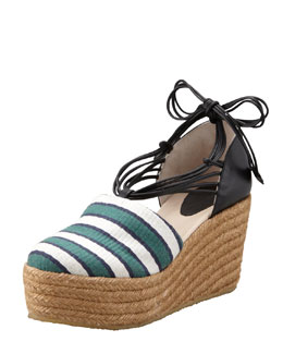 Chloe Striped Canvas Espadrille Wedge, Green/Black