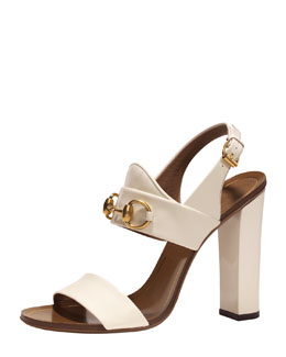 Gucci Patent Leather Horsebit Sandal, White