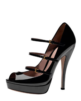 Gucci Triple-Strap Platform Mary Jane Pump, Black