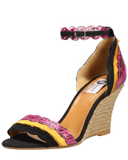 Lanvin Scalloped Snakeskin Espadrille Wedge Sandal