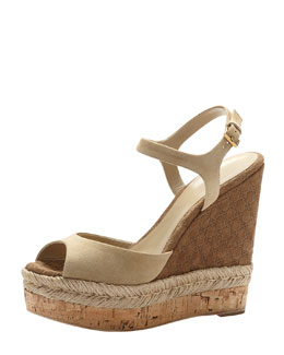 Gucci Suede Espadrille Wedge Sandal, Cream