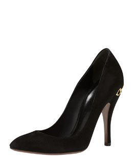 Gucci Horsebit-Heel Suede Pump, Black