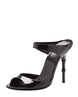 Gucci Bamboo-Heel Patent Leather Sandal, Black