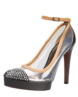 Lanvin Crystal-Cap-Toe Clear Pump