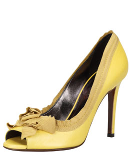 Lanvin Grosgrain-Trimmed Peep-Toe Pump, Green