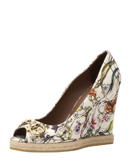 Gucci Floral Canvas Wedge Pump