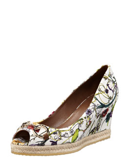 Gucci Floral-Print Canvas Wedge