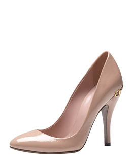 Gucci Horsebit-Heel Patent Leather Pump, Dark Cipria