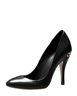Gucci Horsebit-Heel Patent Leather Pump, Black