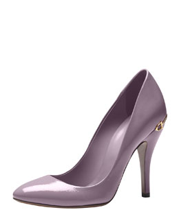 Gucci Horsebit-Heel Patent Leather Pump, Lavender