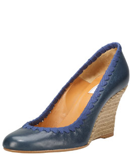 Lanvin Grosgrain-Stitched Leather Wedge Pump