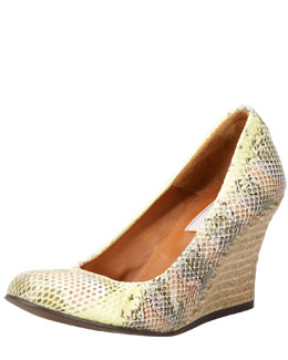 Lanvin Snake-Embossed Wedge Pump