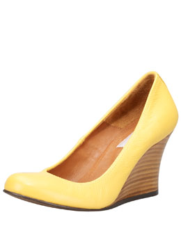 Lanvin Kidskin Wedge Pump, Sunflower