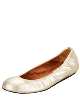 Lanvin Metallic Leather Ballerina Flat, Gold