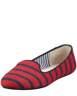 Charles Phillip Shanghai Sheila Striped Wool Smoking Slipper