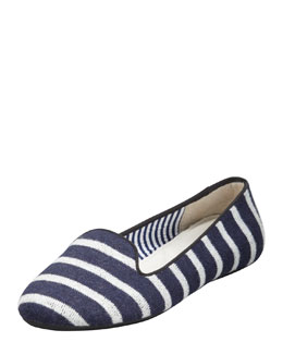 Charles Phillip Shanghai Sheila Striped Wool Smoking Slipper, Navy/White
