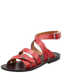 Marni Double-Buckle Flat Ankle-Wrap Sandal, Red